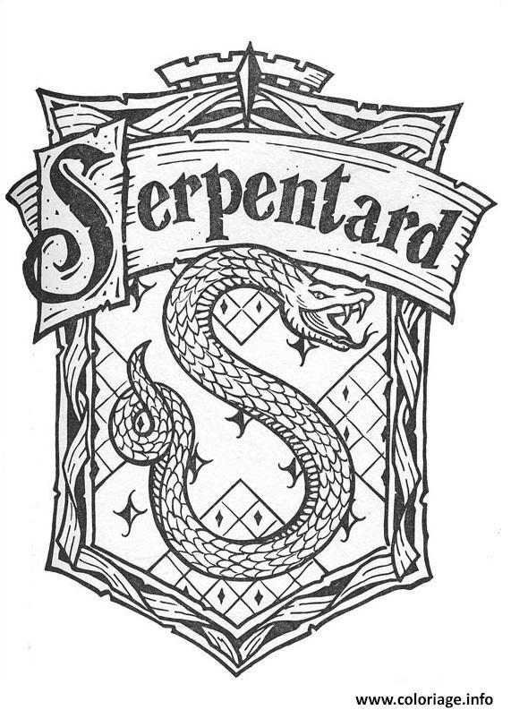 Coloriage Blason De Serpentard Harry Potter Dessin à Imprimer Plus