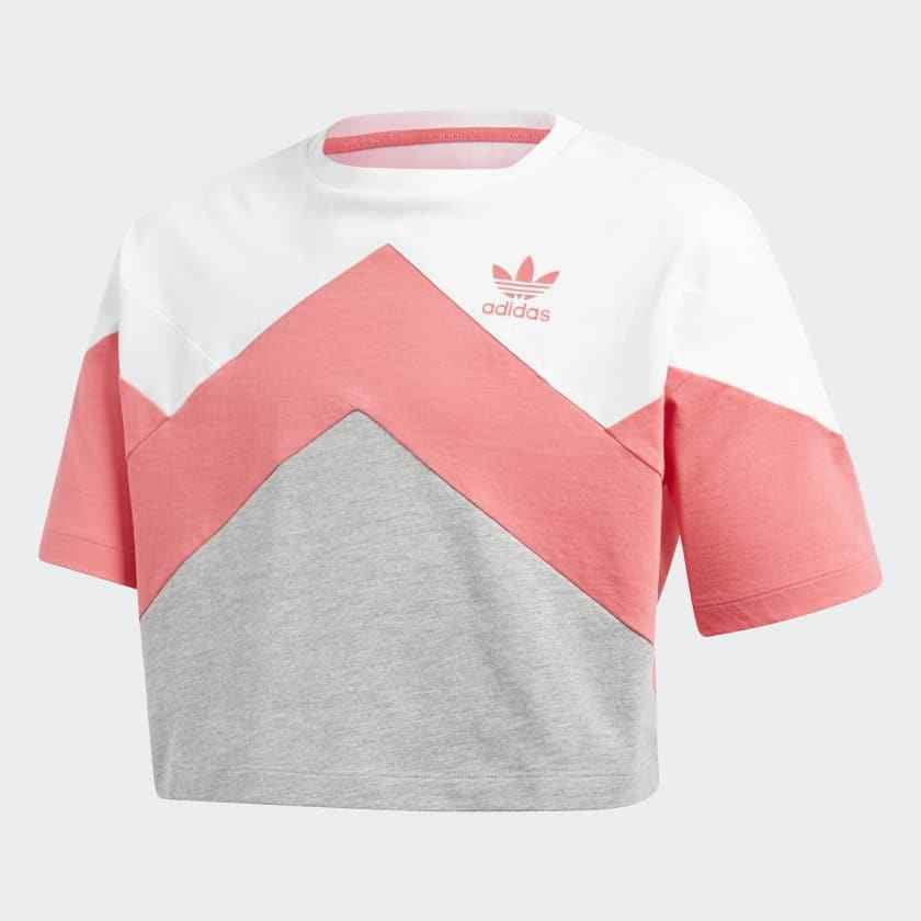 New Adidas Kids Junior French Terry White Pink Cropped Crop T-Shirt Tee Sz  Small  adidas 92ff33889b