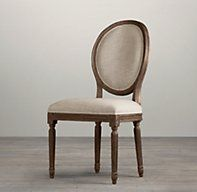 Vintage French Round Upholstered Side Chair