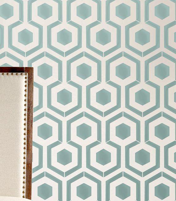 wall stencil honeycomb hexagon modern look by omgstencils on etsy ... - Deko Ideen Hexagon Wabenmuster Modern