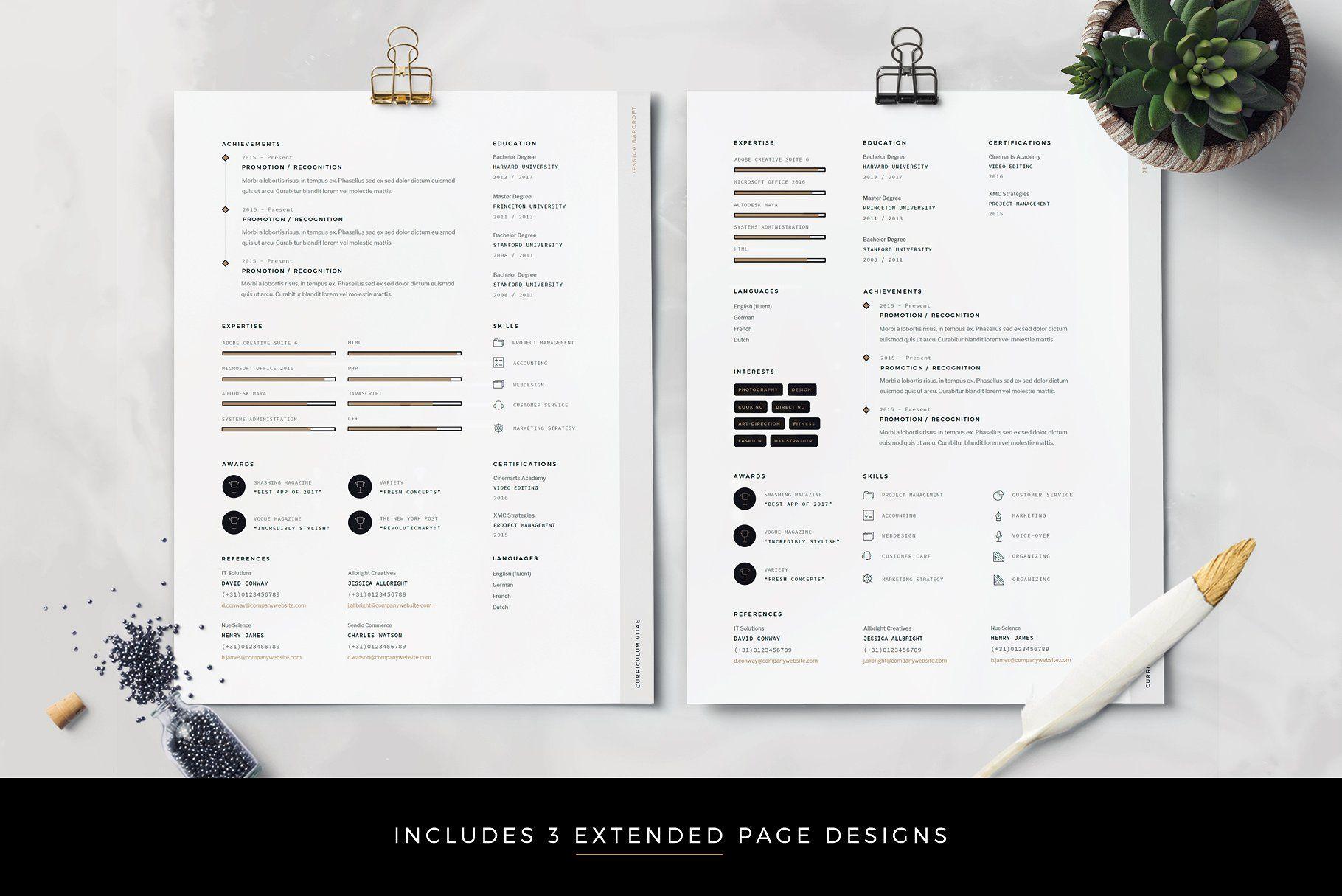 Modern Resume Cv Template For Word Easily Edit Ultimate Cv Unique Resume Template Creative Resume Templates Cv Template