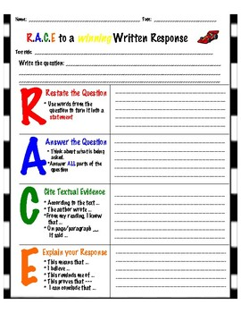 Use This Template To Help Your Students Write More In Depth Constructed Responses Will The R A C E Strategy Them Focus On Using And