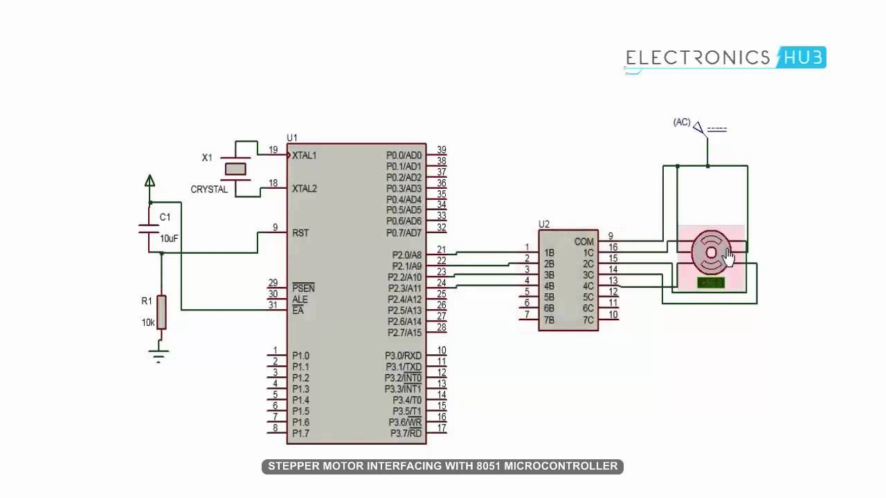 Stepper Motor Interfacing With 8051 Microcontroller Circuit Controller Simulation Video