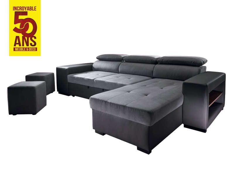 canap d 39 angle bicolore convertible 4 places edgar. Black Bedroom Furniture Sets. Home Design Ideas