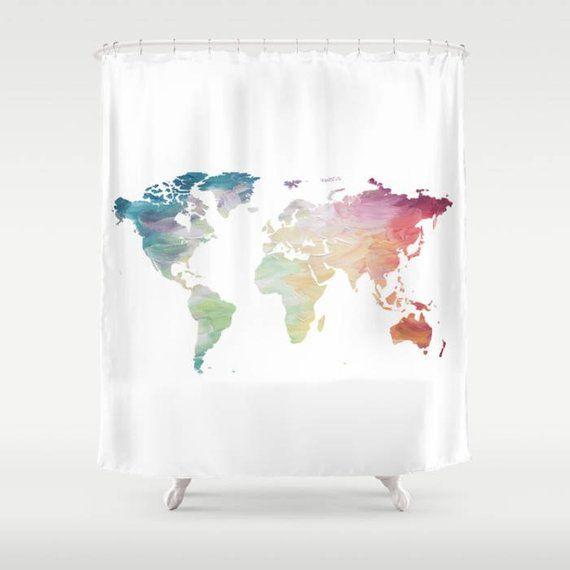 World Map Shower Curtain Rainbow Globe Bath Decor Wanderlust Travel Lover B