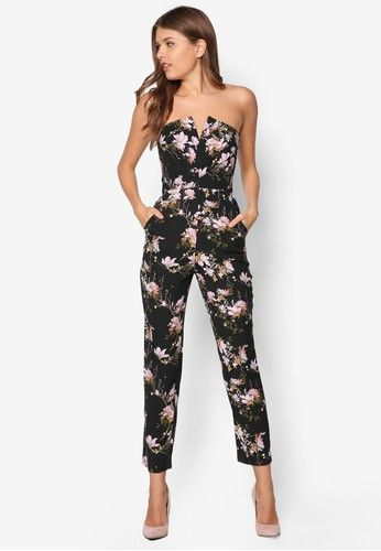 04e0b0083cd Bandeau Floral Print Jumpsuit from Miss Selfridge in black 1 ...