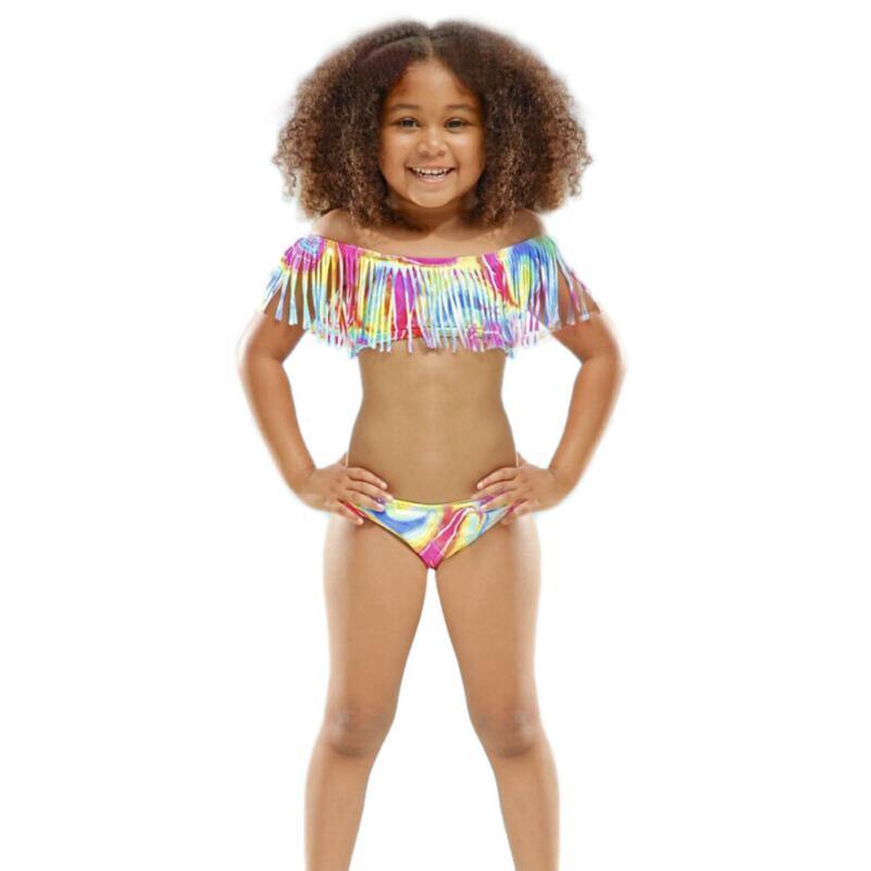595be4e171 New Summer children split bikini children swimwear tassel baby kids biquini  swimsuits bikini girl bathing suit  E0