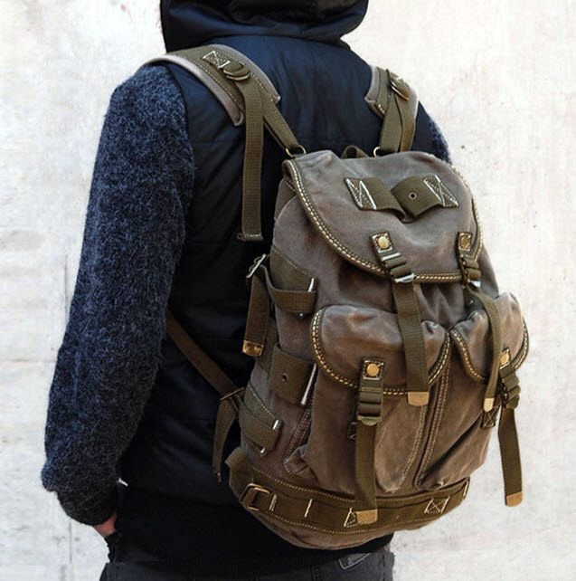 Men's Trendy Military Style Canvas Backpack - Army Green | Canvas ...