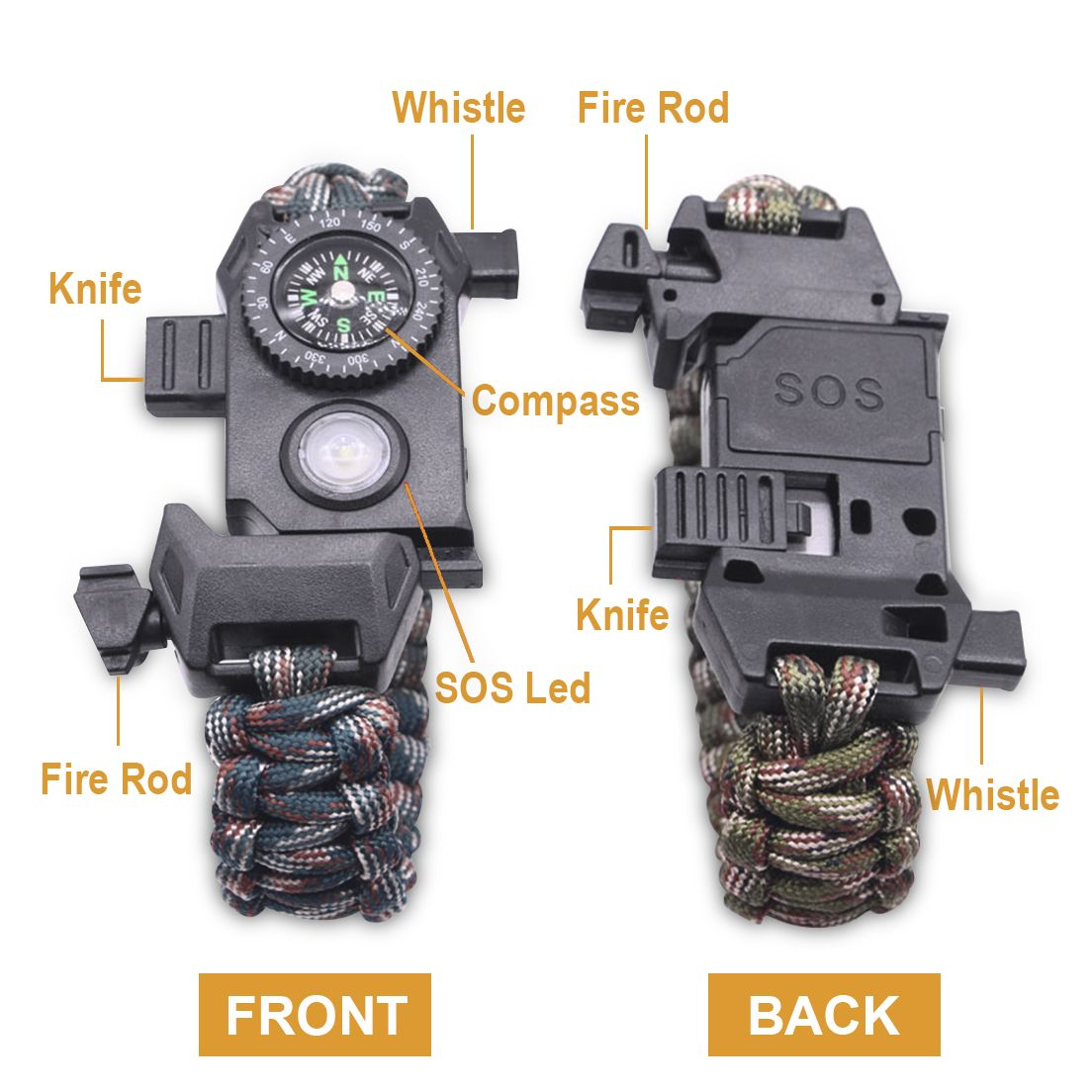 Led Sos Paracord Survival Bracelet With 6 In 1 Survival Tool