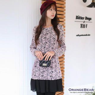 OrangeBear - Inset Chiffon Dress Long-Sleeve Floral Top
