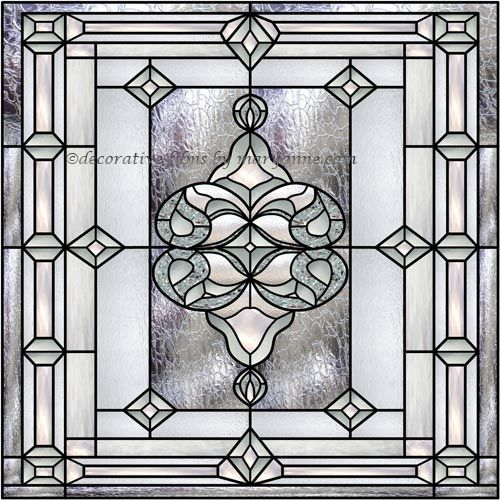 Bevel Stained Glass Window 1 Square Decorative Window Film