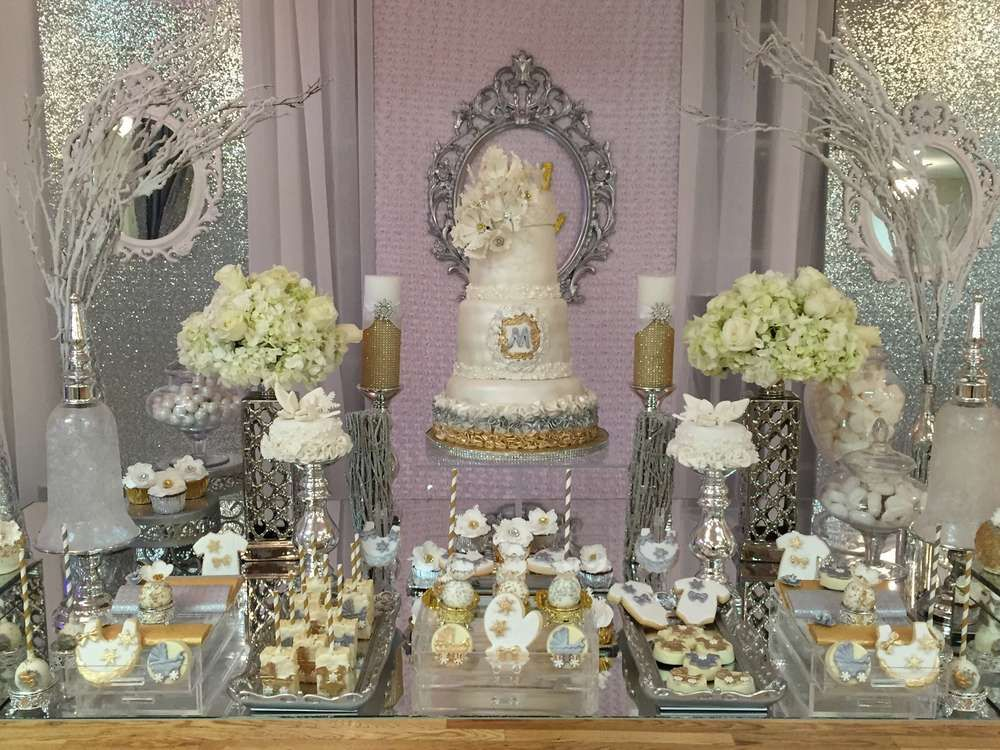 Incredible Dessert Table At A Winter Wonderland Baby Shower Party! See More  Party Planning Ideas