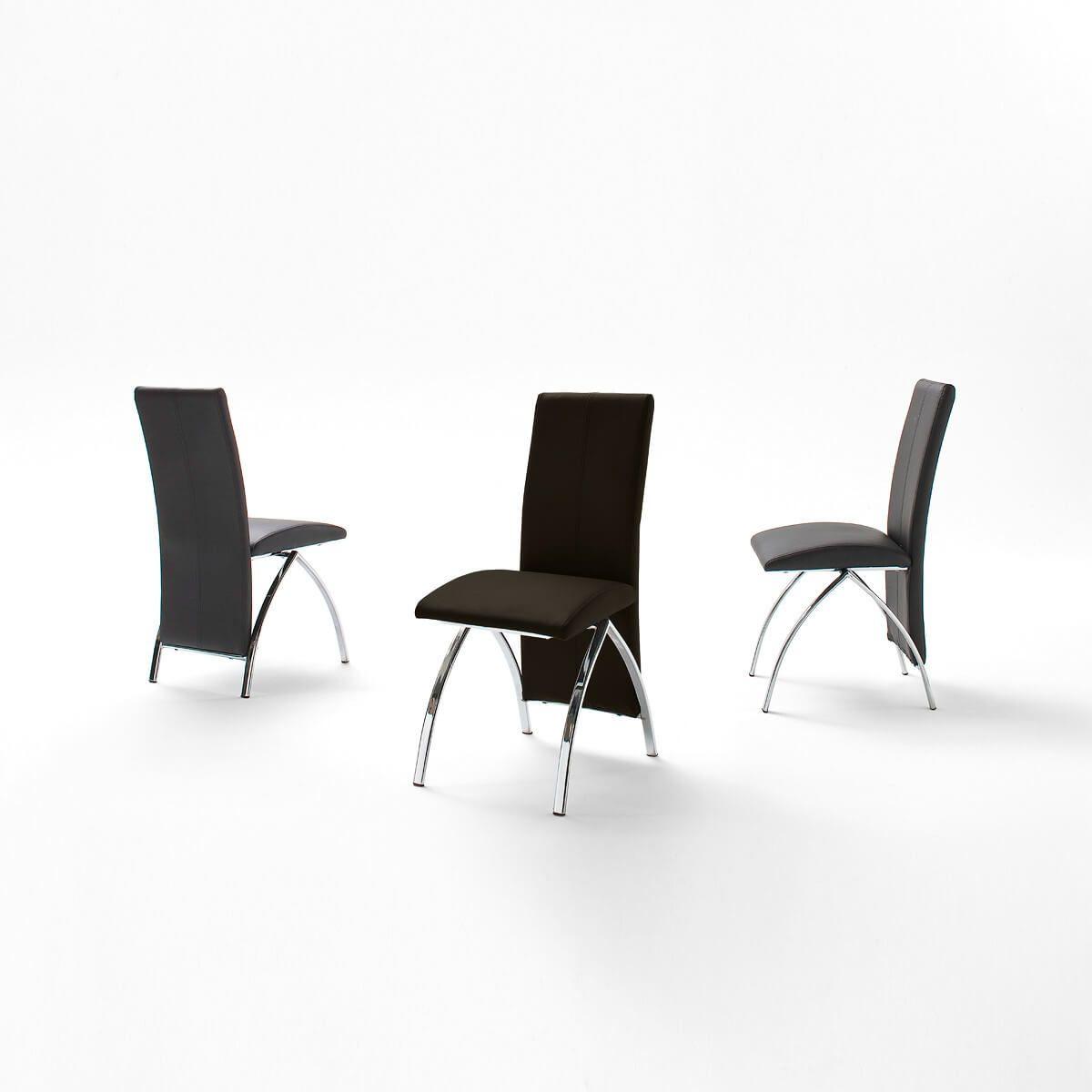 Stuhl Manni (4er-Set) in Kunstleder Schwarz