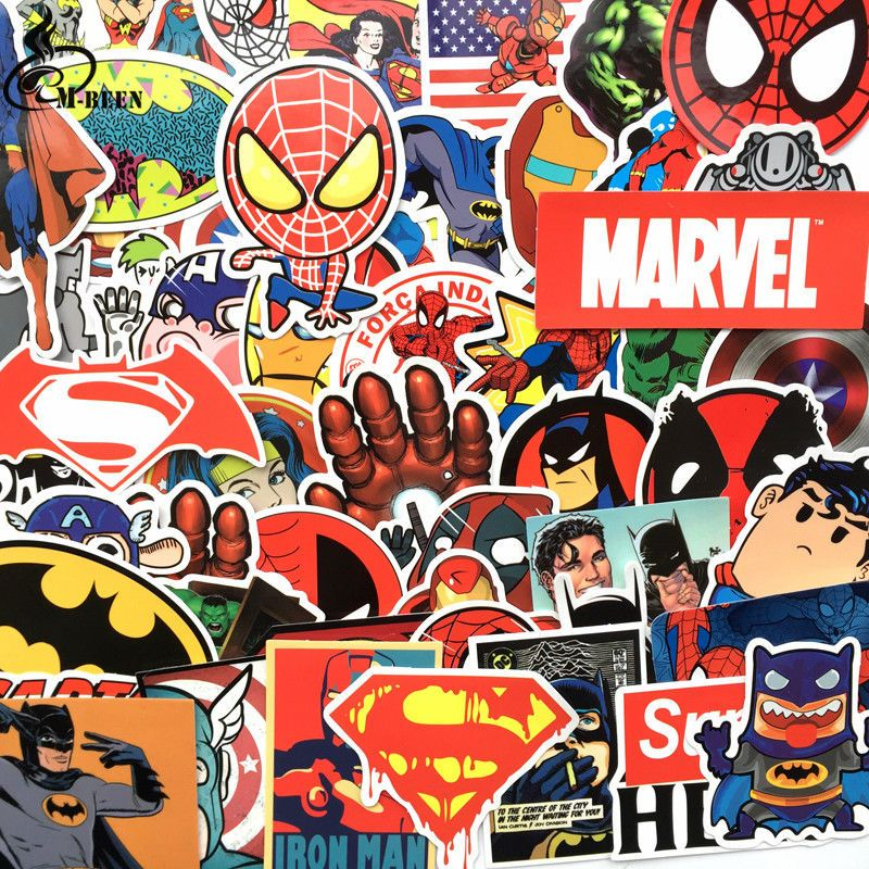 50x Pcs Super Hero Stickers Superman Batman Captain America Iron