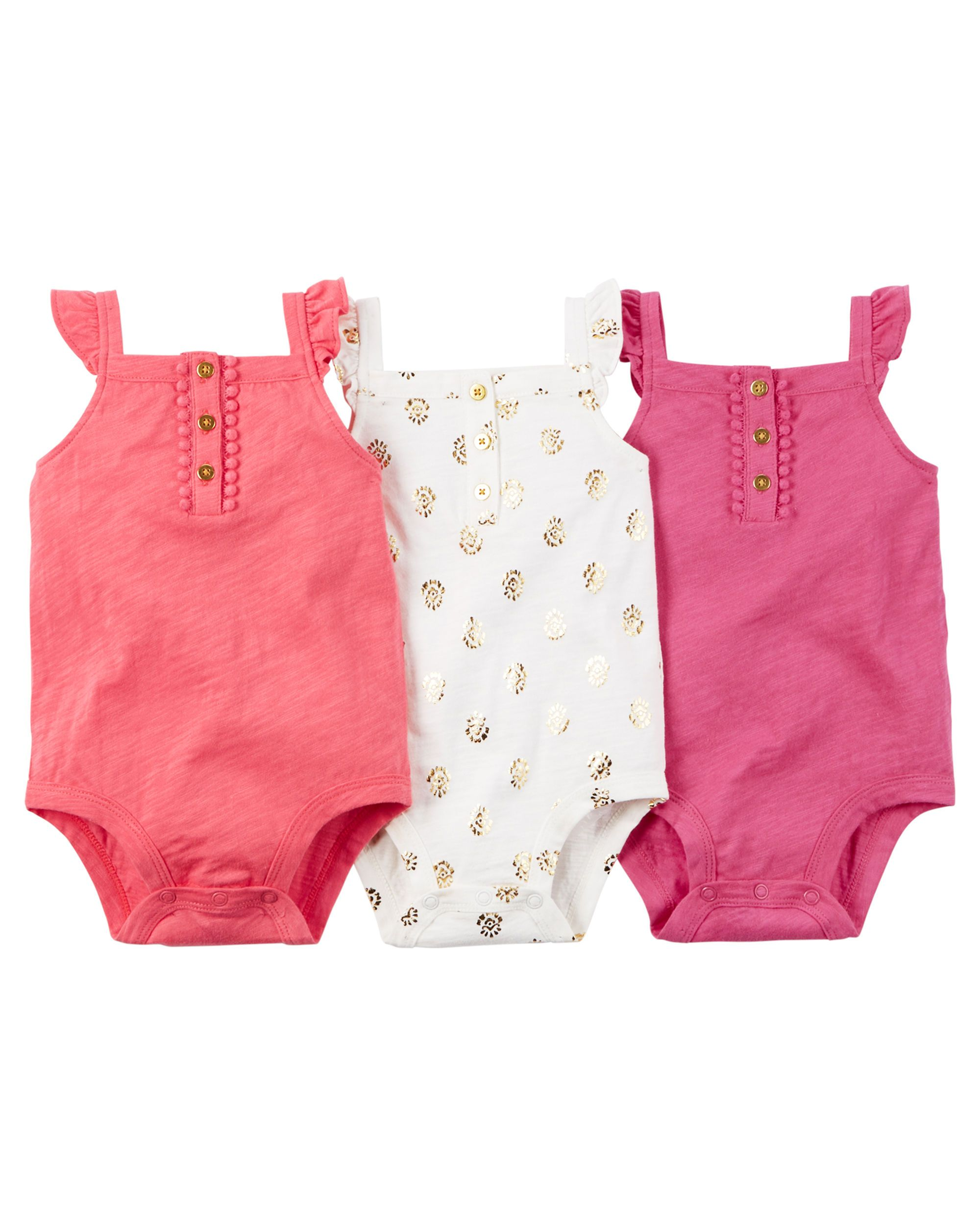 5146007a32f4 3-Pack Sleeveless Bodysuits