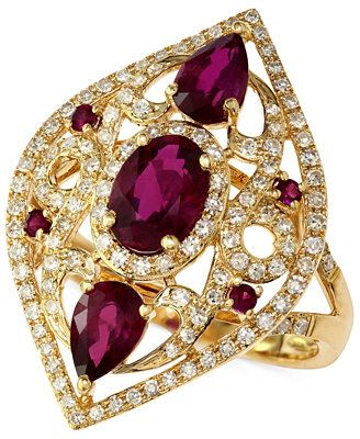 GORGEOUS! Gemma by EFFY Ruby (2 ct. t.w.) and Diamond (1/2 ct. t.w.) Three-Stone Ring in 14k Gold