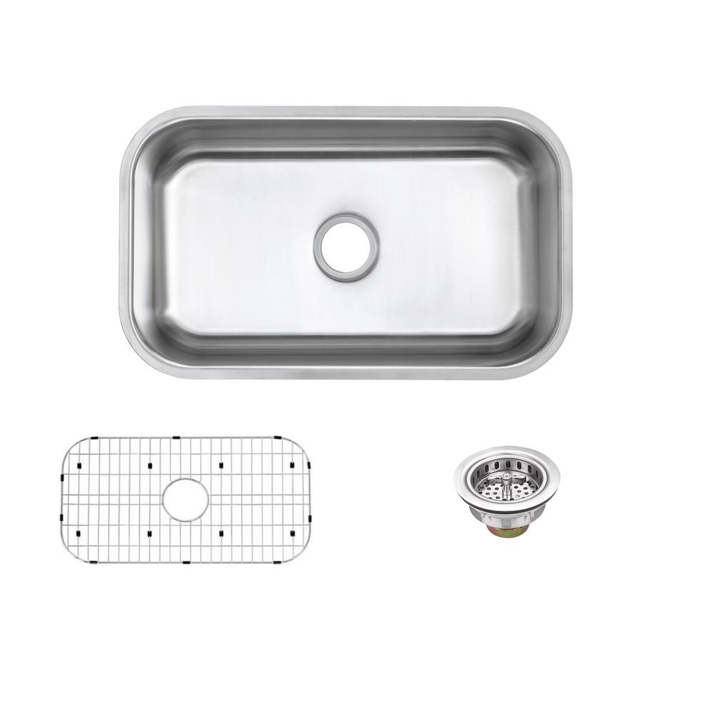 Glacier Bay Undermount 16 Gauge Stainless Steel 30 In Single Bowl Kitchen Sink With Grid And Drain Assemblies Vu3018a116p The Home Depot Single Bowl Kitchen Sink Sink Kitchen Sink
