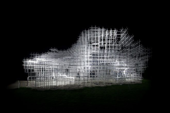 United Visual Artists transformed Sou Fujimoto's Serpentine Gallery design into an electrical storm.