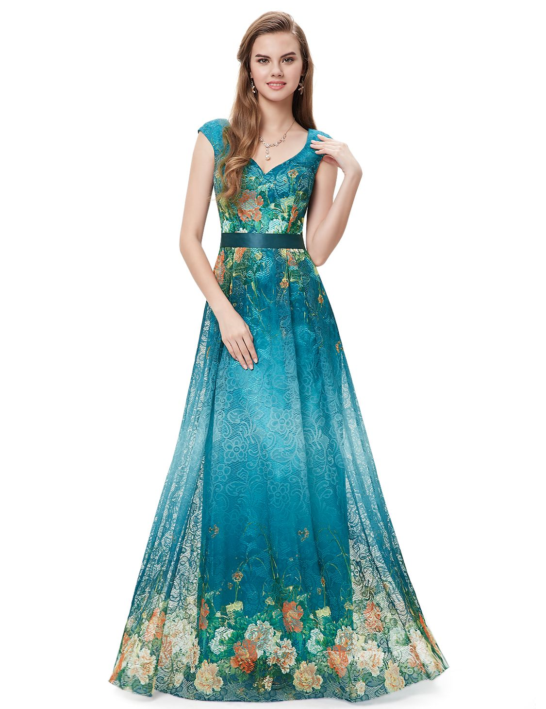 Elegant printed floral lace long formal evening party dress