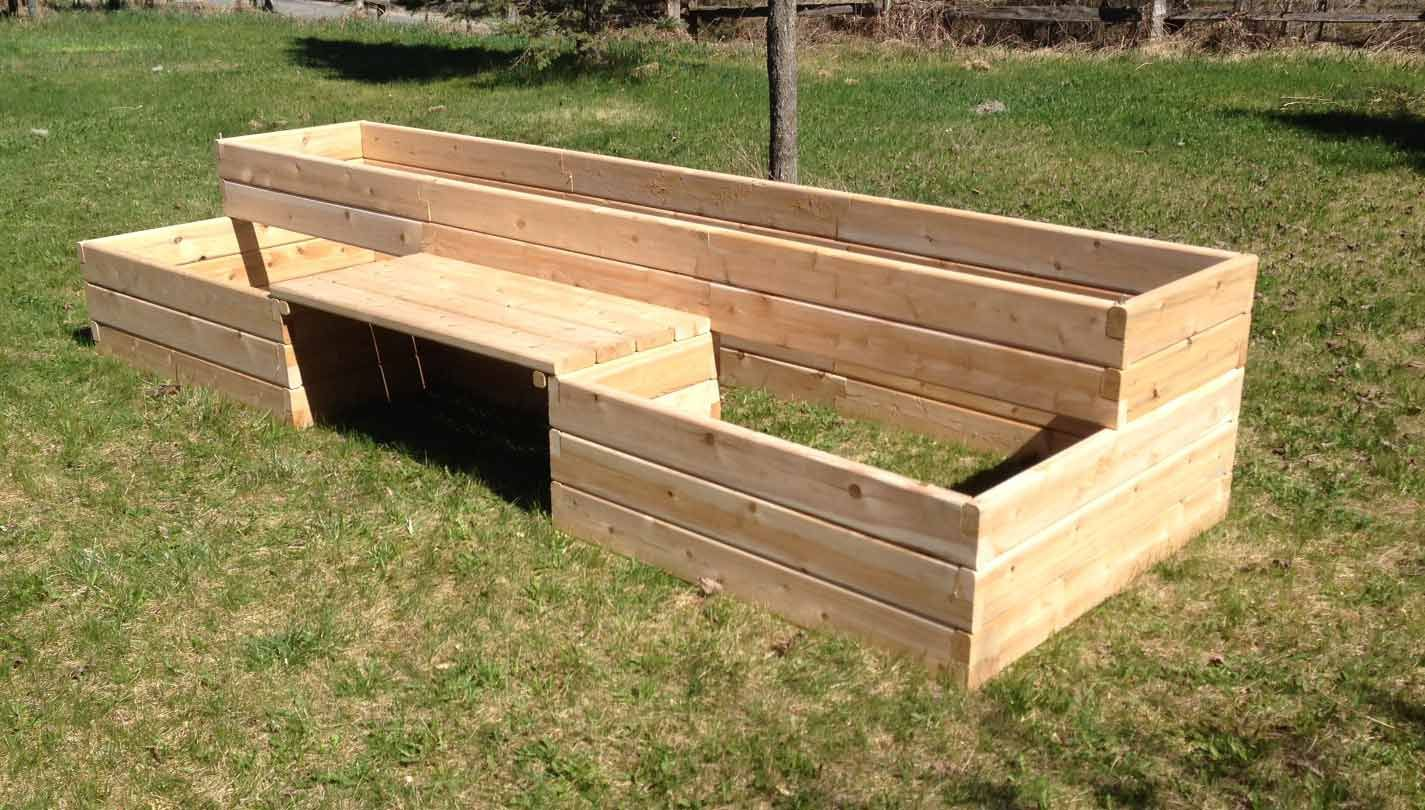 bench built in raised bed garden | Raised Garden Bed kits with a ...