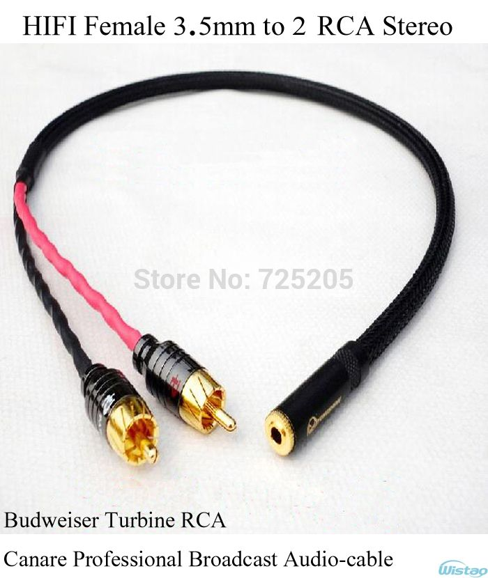 Iwistao Hifi Female 3 5mm To 2 Rca Stereo Cable Budweiser Rca Canare Professional Broadcast Audiocable Manual Diy Free Tablet Accessories Hifi Bluetooth Audio