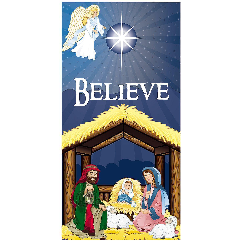 """Party City Xmas Door Decor Door Cover: Nativity €�Believe"""" Door Cover"""