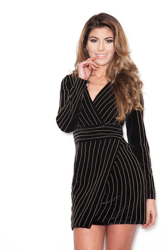 Deep V-neck structured mini velvet dress with gold imprint stripe design  Details Velour d94180a40