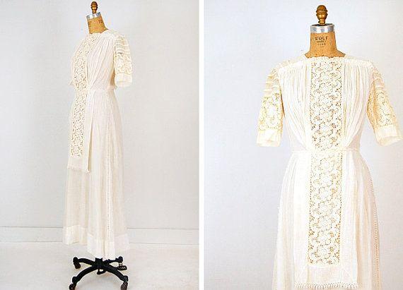 Vintage Wedding Dress / Antique 1900s Edwardian Lawn Dress