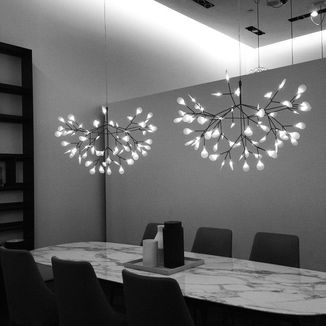 Moooi Light Fixture Heracleum Ii Pendant Light B B Italia Showroom Lighting Design Dining Table Lighting Interior Lighting