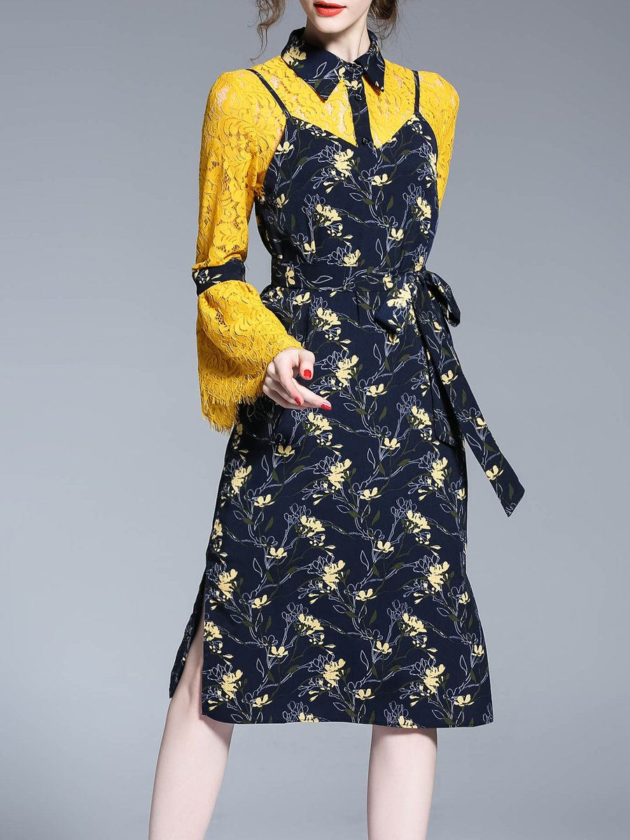 Adorewe stylewe midi dresses oushang yellow floralprint long