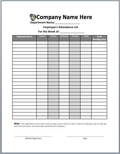 Employee Attendance List Template  Template