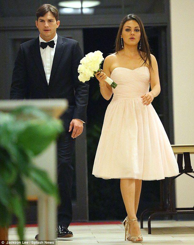 Mila Kunis And Ashton Kutcher Attend Her Brother S Wedding Bridesmaid Dresses Celebrity Weddings Dresses