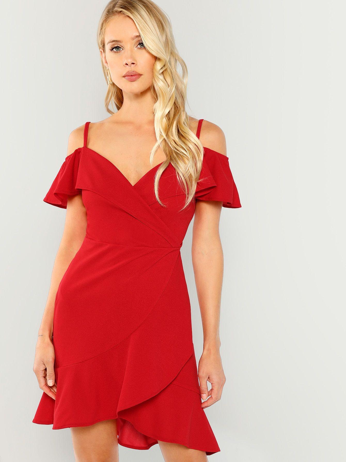 Cold Shoulder Surplice Wrap Dress Shein Sheinside Dresses Wrap Dress Slimming Midi Dress [ 1785 x 1340 Pixel ]
