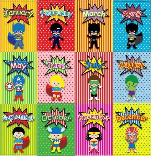 Printable Clipart Digital Pdf File Superhero 5 X 7 Inch 1 12 Months Superhero Classroom Theme Super Hero Activities Birthday Cards