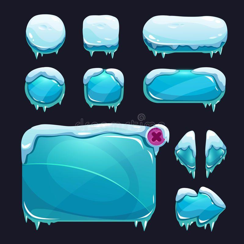 Funny Cartoon Winter Game User Interface Stock Illustration - Illustration of design, assets: 63834939