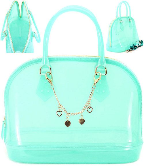 Candy Bag Jelly Purse With Chain Charm Transpa Mint 48