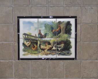 Decorative Wall Tile Murals This Rooster And Hen Ceramic Tile Mural Is A Great Kitchen