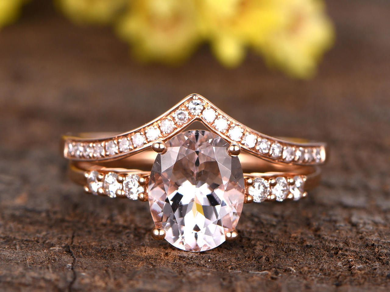 Morganite Wedding Sets Morganite Engagement Ring Pink Morganite Engagement Ring Morganite Engagement Ring Set
