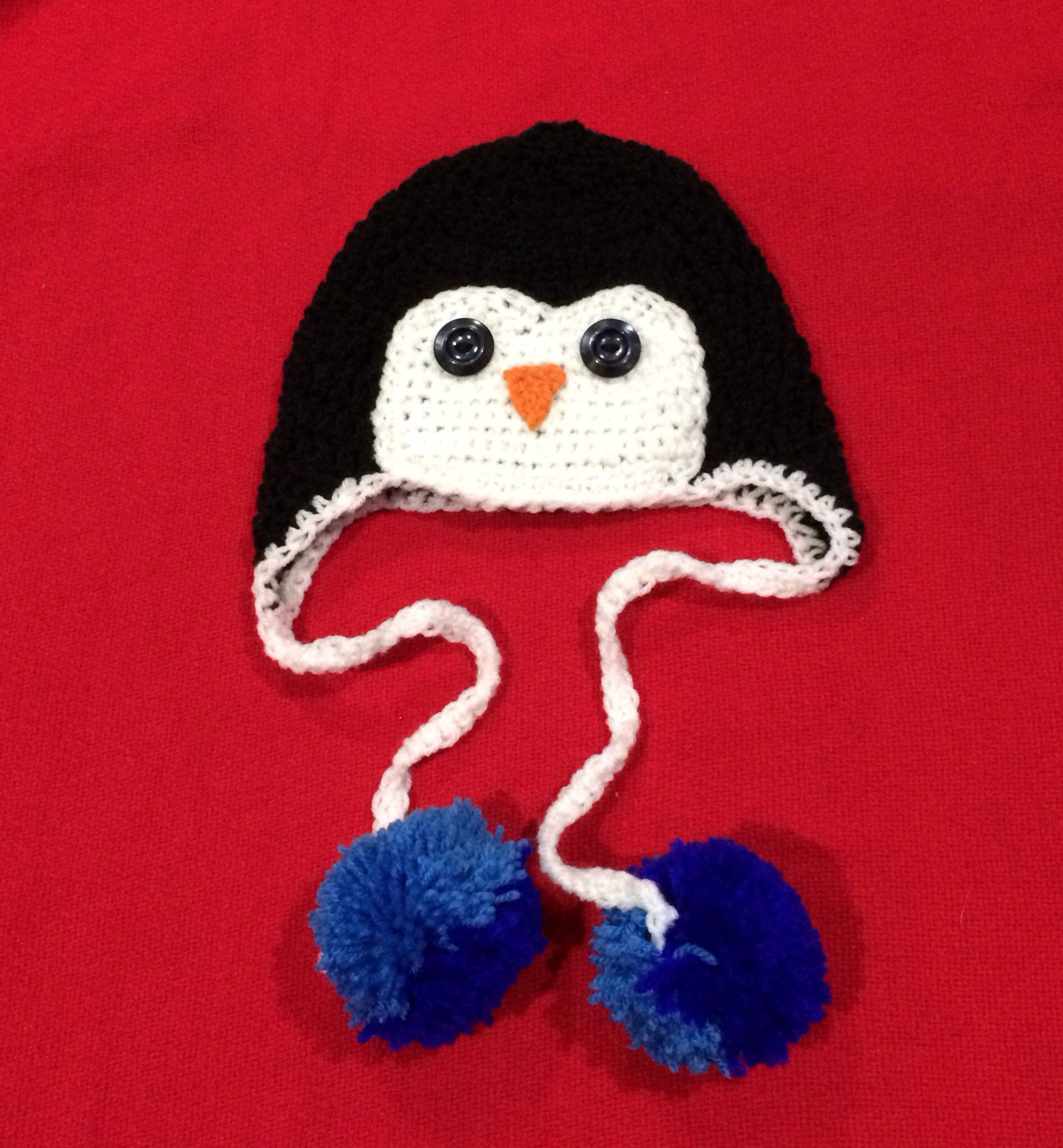 Boys crochet penguin pom pom hat