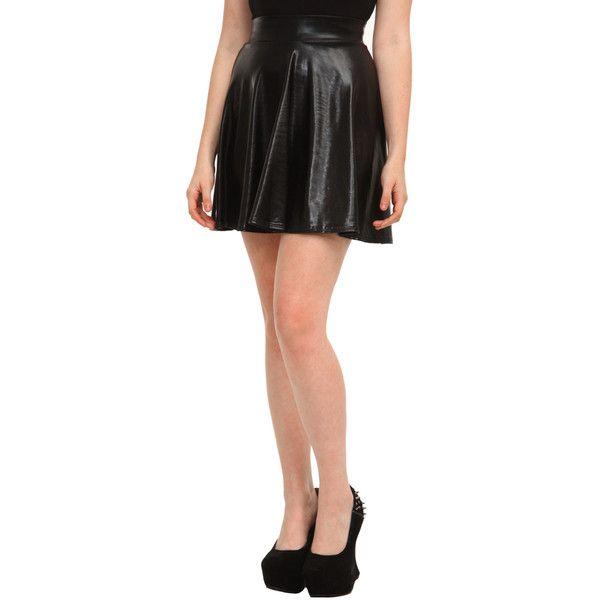 Skirts | Bottoms | Clothing ($23) ❤ liked on Polyvore featuring skirts, black, black skater skirt, vinyl skirting, flared skirt, skater skirt and black knee length skirt
