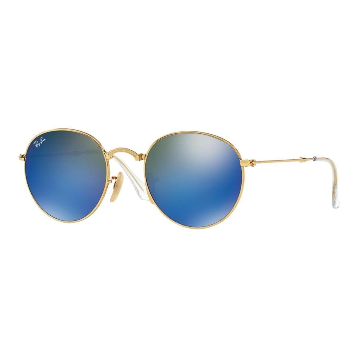 e5c25b39d0b Ray-Ban RB3532 001 68 Round Folding Frame Blue Mirror 50mm Lens Sunglasses