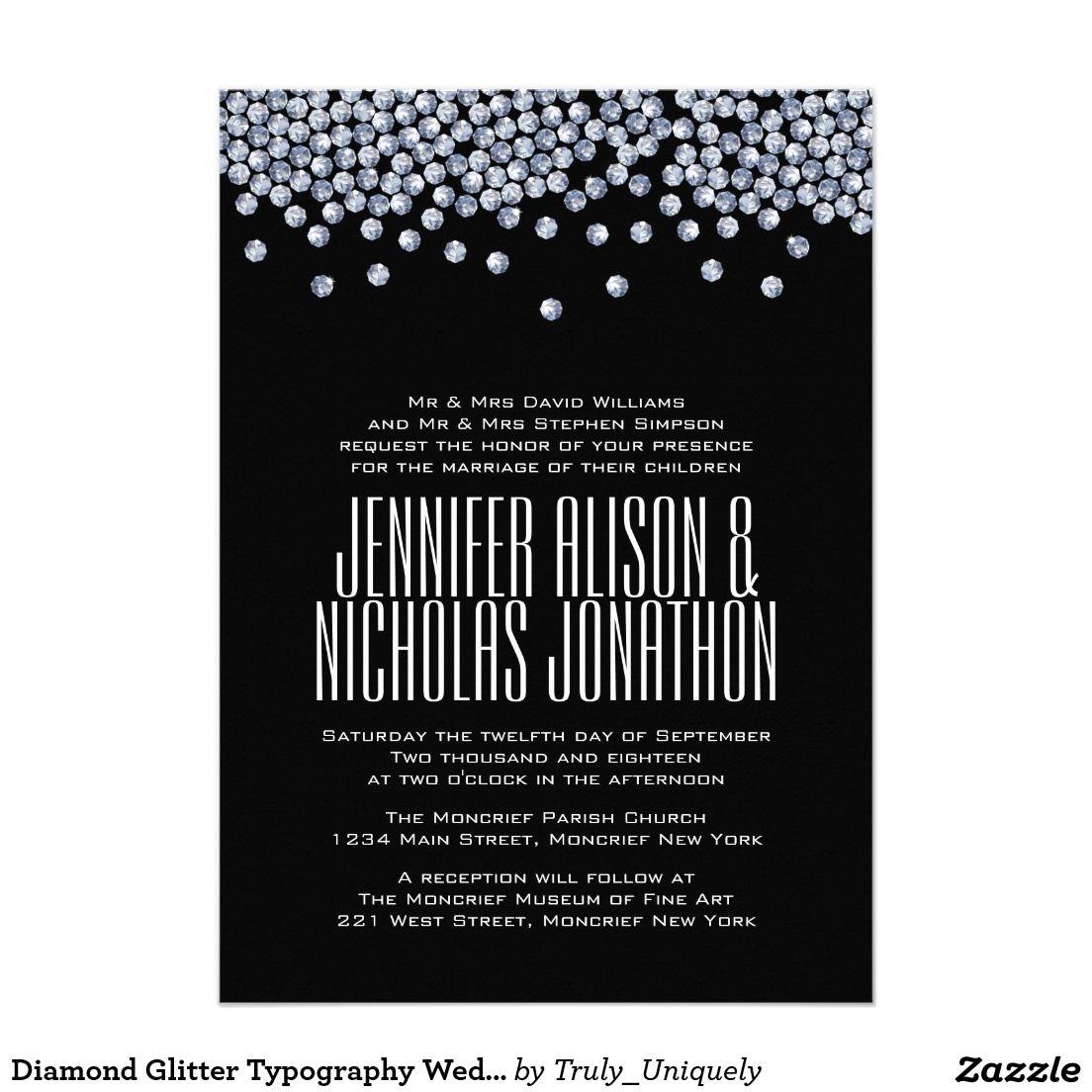Diamond Glitter Typography Wedding Invitation Typography Wedding