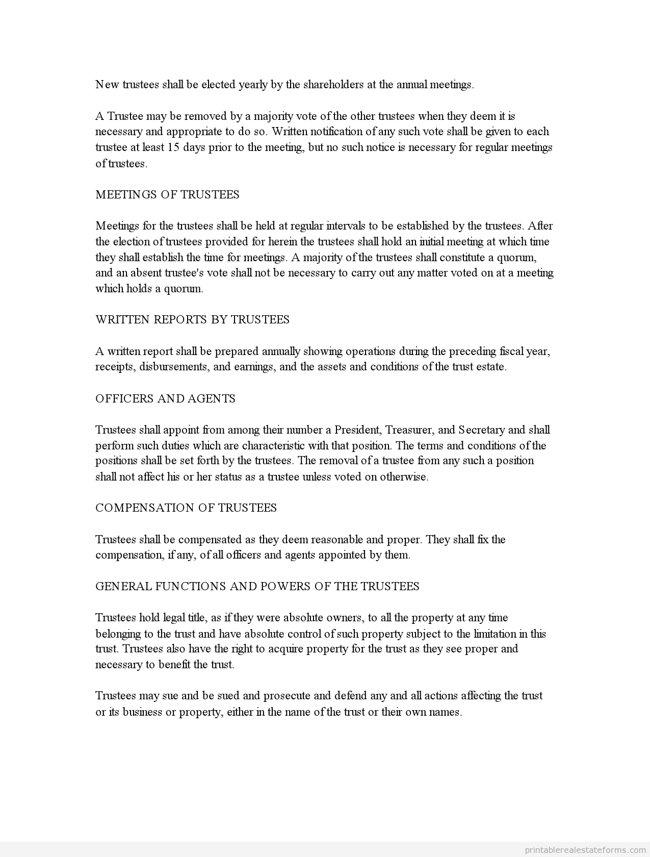 Free Business Trust Agreement Form Printable Real Estate Forms Real Estate Forms Word Template Legal Forms
