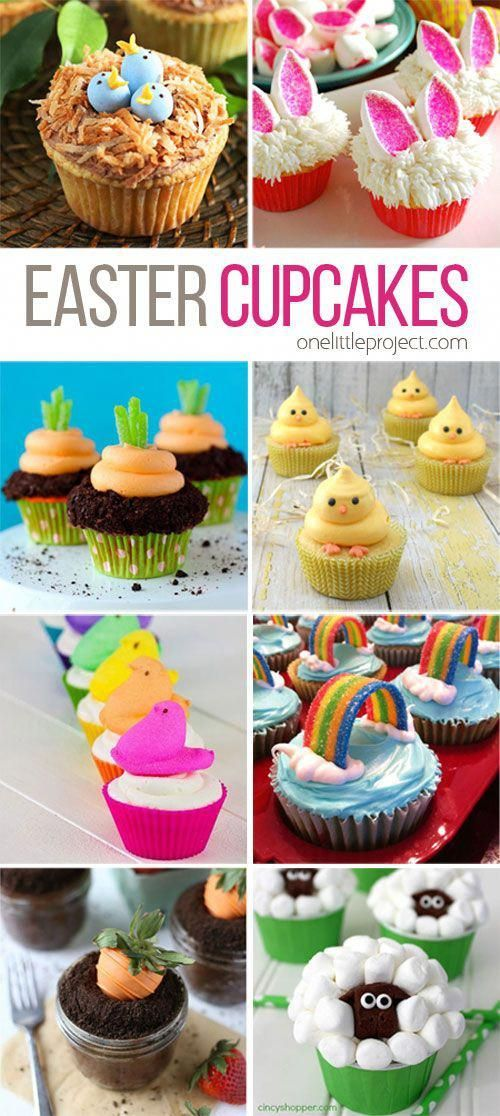 35 Adorable Easter Cupcake Ideas - Easter cupcakes, Easter cakes, Easter treats, Easter baking, Easter dessert, Fun cupcakes - From marshmallow sheep to bunny butts, this list of adorable Easter cupcake ideas has you covered! And they all look fairly easy!