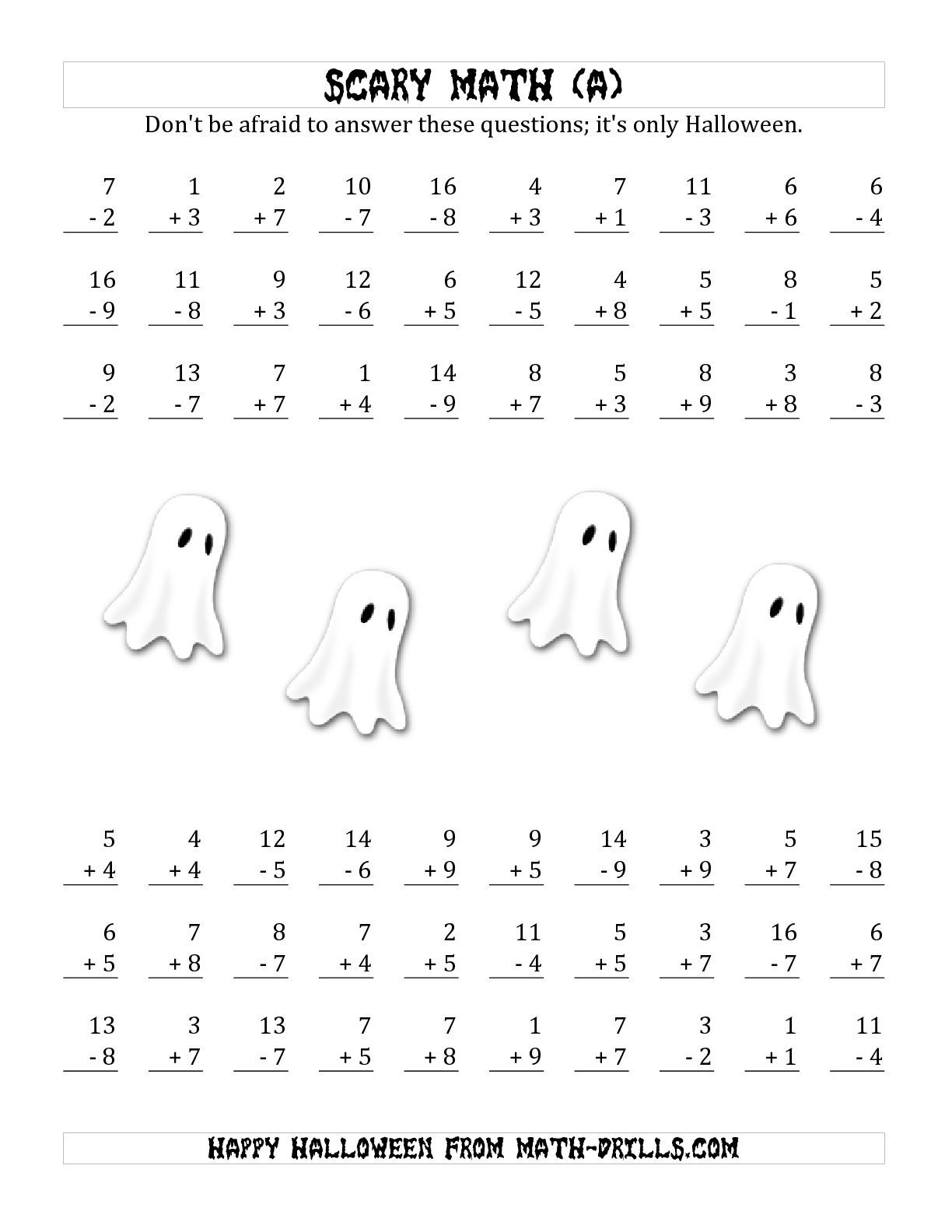 The Scary Addition And Subtraction With Single Digit Numbers A Math Worksheet From The Hal Halloween Math Worksheets Math Addition Worksheets Math Worksheets
