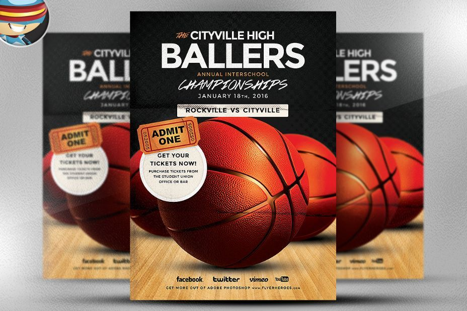 Basketball Flyer Template Psd For Tournament Camp And Street