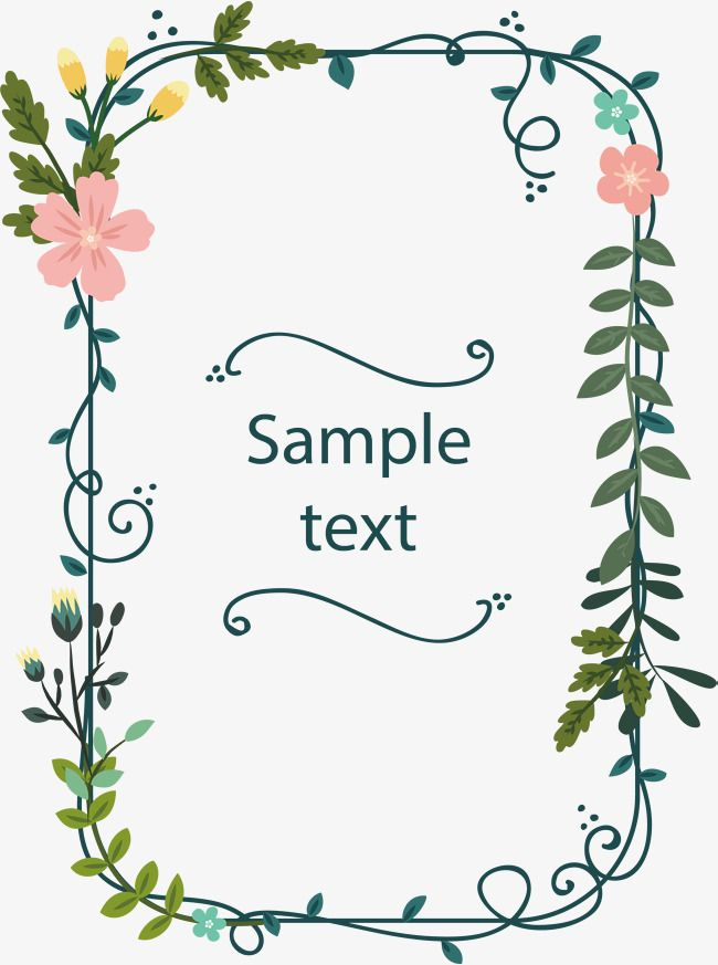 Small Fresh Vines Frame Vector Png Rectangular Box Flower Vine PNG And