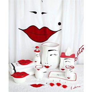 red lips curtain | Lolita Bath Accessories, Flirt Shower Curtain Hooks, Set  of 12