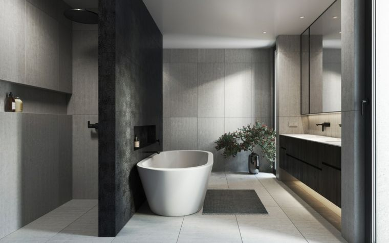Mobili bagno moderni economici, vasca da bagno, doccia con