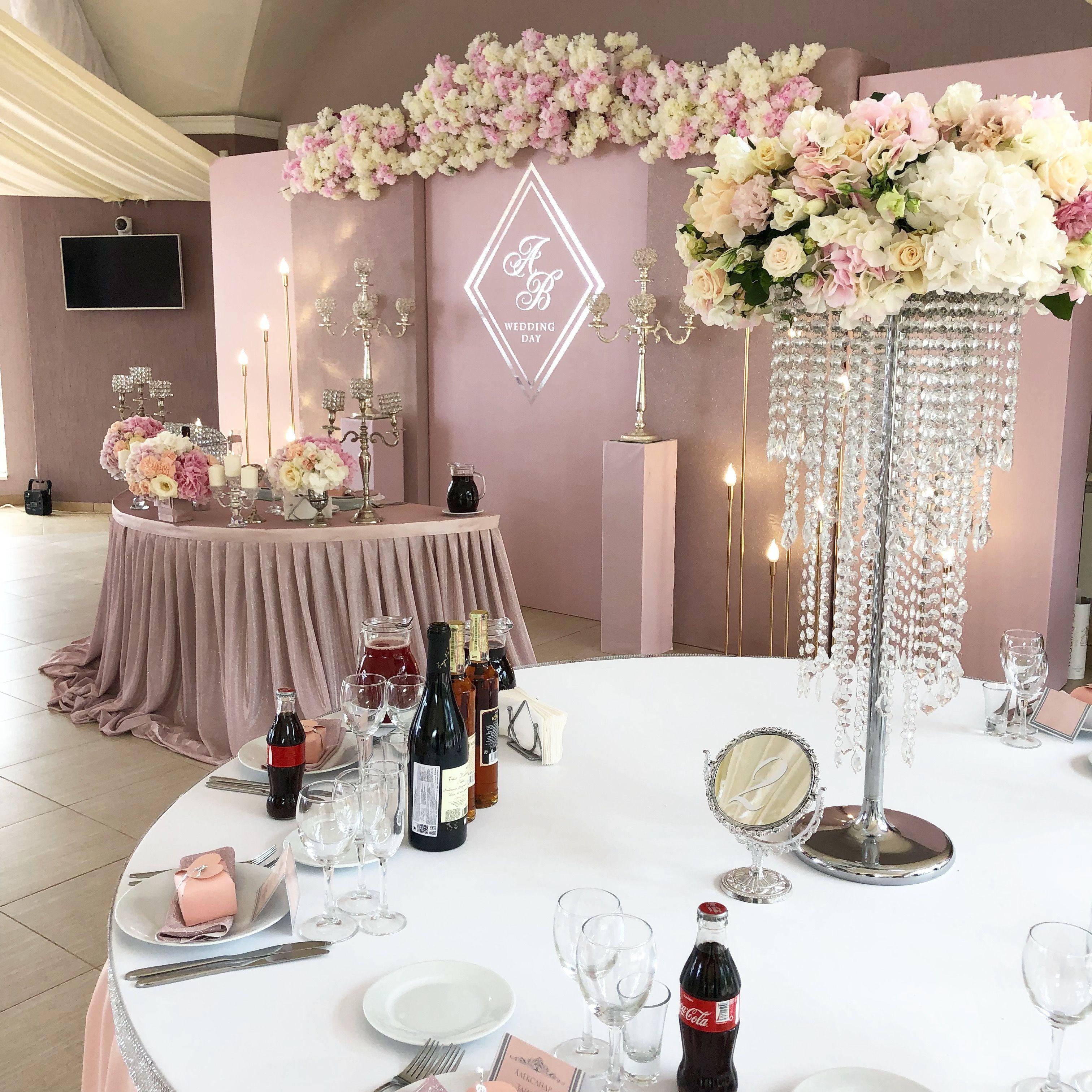 Пудровая свадьба пудровый стол молодых декоратор